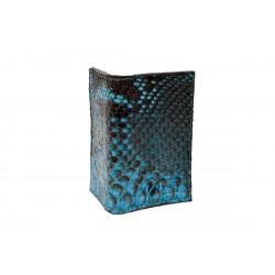 Porte-cartes python teinté bleu