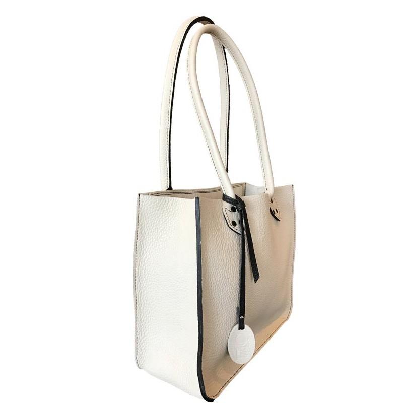 f01642c595 Sac Cabas petit modèle en cuir blanc - Ô Cuir Laguiole