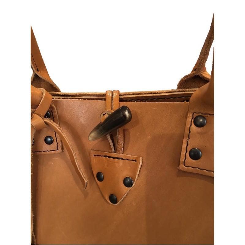 52a2646a6d Sac Cabas petit modèle en cuir marron - Ô Cuir Laguiole