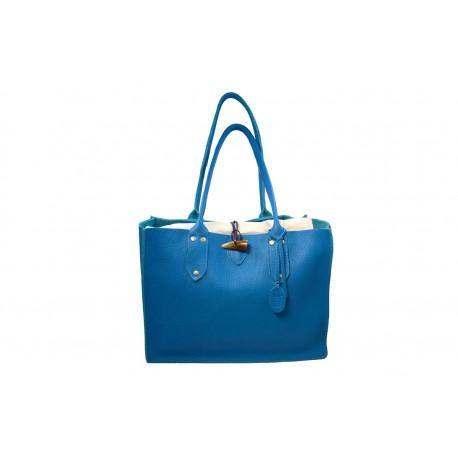 9d8d960ec009 Sac Cabas grand modèle en cuir bleu foncé - Ô Cuir Laguiole
