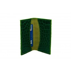 Porte-cartes crocodile teinté vert