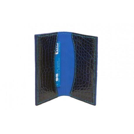 design de qualité 4bac2 c1450 Porte-cartes crocodile teinté bleu foncé - Ô Cuir Laguiole